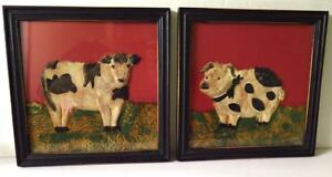 Cow Pig Animal Folk Art Pulled Paper Framed Shabby Chic Cottage Country Style