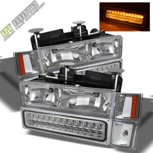 94 98 Tahoe C10 C K Suburban Silverado Glass Headlights Led Bumper Corner Lamps