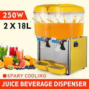 18l X 2 Commerical Cold Juice Dispenser Beverage Refrigerated Machine 2 Tanks