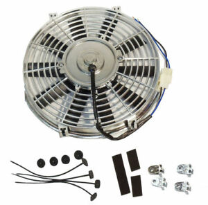 14 Inch Chrome Electric Fan Straight Blade 12v 1900 Cfm With Mounting Kit
