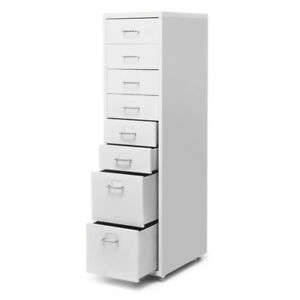 White 8 drawer Metal Detachable Mobile Filing Cabinet Home Office 4 Casters T8n2