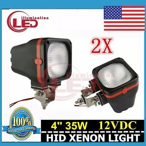 2pcs 4inch 35w Flood Beam Hid Xenon 4x4 6000k Offroad Fog Mount Work Lights 12v