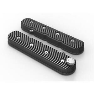 Holley 241 140 Vintage Series Finned Tall Ls Valve Covers Black Satin