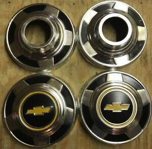 1970 S Set Of 4 Chevy 1 2 Ton Hubcaps Dog Dish Truck Center Hub Cap Wheel Cover