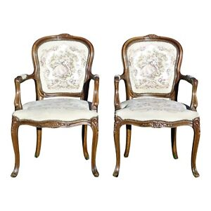 Pair Chateau D Ax French Provincial Tapestry Fauteuil Bergere Arm Chairs Italy