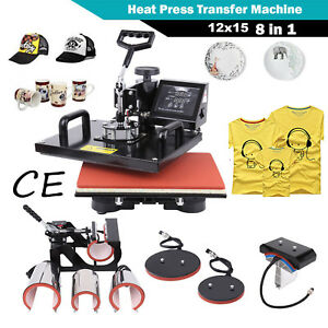 12 x15 8 In 1 Heat Press Machine For T shirts Hat Cup Sublimation Swing away