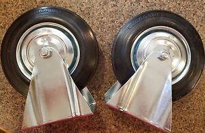 Set Of 2 New Rigid Plate Casters With Rubber Tire 8 Diameter X 2 Wide Metal