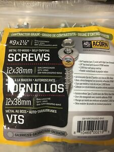 New Lot Of 750 Acorn Sw mw15g250 3 Bags Galvanized 1 1 2 Metal Roofing Screws