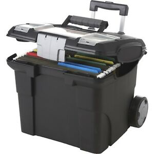 Portable File Box W Wheels Handle Plastic Office Home Organization Black