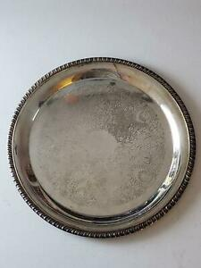 Leonard Silverplate Medium Serving Platter Tray Dish Round