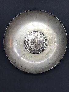 Antique Sterling Silver Persian Ottoman Arabic Coin Small Tray Dish