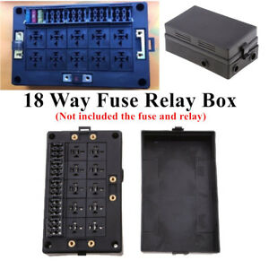 18 Way Blade Fuse Holder 10 Way Relay Socket Box Case Dust Proof For Auto Marine
