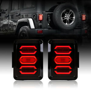 Fit 07 18 Jeep Wrangler Jk Jku Tail Lights Smoked Avenger Led Diamond Shape