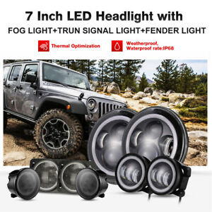 7 Led Headlight Turn Signal Fender Fog Light Lamp For 2007 18 Jeep Wrangler Jk