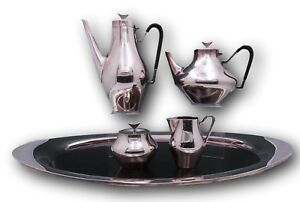 Denmark By Reed And Barton Silverplate Tea Set 4pc With Tray Vintage 3081