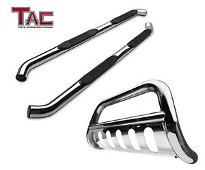 Chrome Nerf Side Step Bull Bar Combo For 2016 2018 Toyota Tacoma Double Cab
