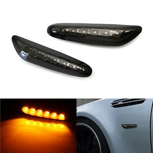 Smoked Lens Front Side Marker Lamps W Amber Led Lights For Bmw 1 3 5 X Series