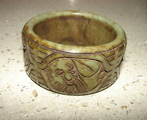 Antique Carved Green Jade Buddha Bangle Bracelet Brings Good Luck Fortune 200g