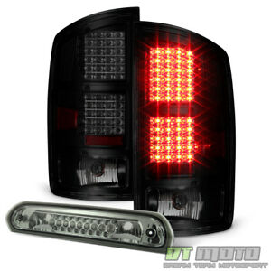 2002 2006 Dodge Ram 1500 Blk Smoke Led Tail Lights Led 3rd Brake Light Stop Lamp