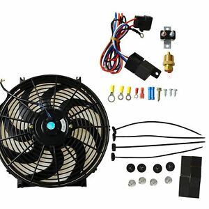 14 Inch Electric Radiator Cooling Fan Thermostat Switch Mount Kit 12v Universal