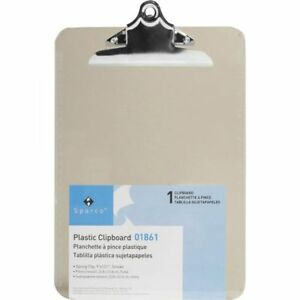 Box Of 12 Sparco Plastic Clipboards 9 x12 12 box Smoke 01861 U s a Seller