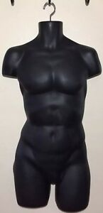 Male Mannequin Hanging Torso Dress Form Matte Black Hard Plastic Hollow Back