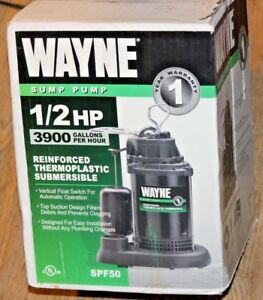 New Wayne 1 2 Hp Sump Pump Spf50 Thermoplastic Submersible Vertical Float Switch