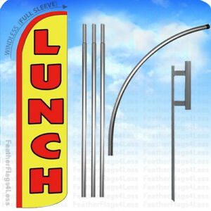 Lunch Windless Swooper Flag Kit Feather Banner 15 Tall Sign Yz