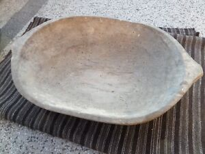 Antique Big 19th Century Primitive Carved Wooden Dough Bowl Hand Made