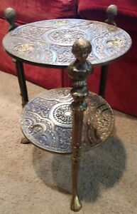 Vintage Rare Solid Brass 2 Tier Plant Stand Table W Cherubs Claw Feet