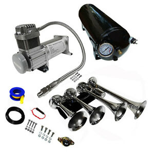 Loud 149db 4 Trumpet Train Air Horn Kit With 3 Gal Tank For Truck Boat