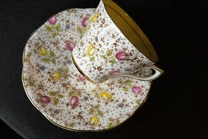 1960 S Rosina Tulips Tea Cup Saucer Bone China Made In England June 4974 A