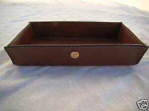 Goldpfeil New Burgundy Leather Desk Notepad paper Clip Holder made In Germany