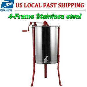 Manual Silver Stainless Steel Honey Extractor Beekeeping Equipment 4 Frame
