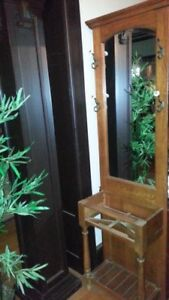 Vintage Hall Tree Mirror Umbrella Stand Tall Excellent Mirror Solid Wood