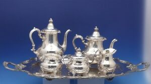 Strasbourg By Gorham Sterling Silver Tea Set 5pc With Amston Sp Tray 3119