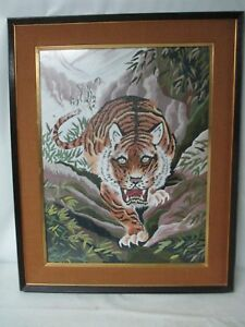 Antique Hand Embroidered Japanese Silk Tiger Needlepoint Art Picture Franed