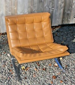 Vintage Barcelona Style Lounge Chair Mid Century Modern Knoll Baughman Era