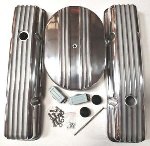 Sb Chevy Polished Aluminum Finned Short Engine Dress Up Kit Fits 59 86 283 350