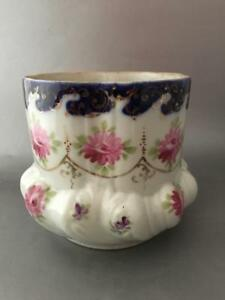 Antique Shabby Vtg Chic Hand Painted Flowers W Gold Porcelain Cache Pot Planter