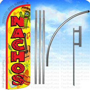 Nachos Windless Swooper Flag Kit Feather Sign 15 Deluxe Pole Set Yq