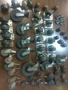 Vtg Lot Industrial Casters Metal Swivel Wheels Mixed Faultless