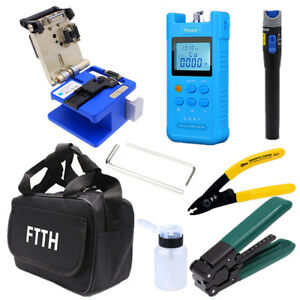 Fiber Optic Ftth Tool Kit Optical Power Meter Finder fc 6s Fiber Cleaver 18pc Us