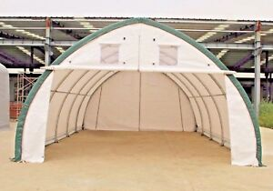 New 20x30x12 Canvas Fabric Building Shelter W Metal Frame Camper Boat Storage