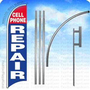 Cell Phone Repair Windless Swooper Flag Kit Feather Sign 15 Deluxe Pole Set Bb