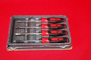 Snap On Tools Mini Tip Red Screwdriver Soft Grip Brand New