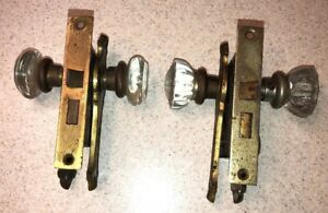 Vintage Antique Pair 2 Mortise Lock Sets Glass Door Knobs Corbin Not Matching