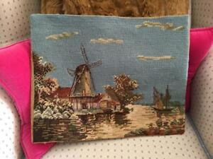Vtg French Completed Windmill Seascape Petitpoint Needlepoint Finished Tapestry