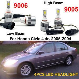 Car 9005 Hb3 9006 Hb4 Led Headlight Kits Bulbs Fit Honda Civic 4 Dr 2005 2004
