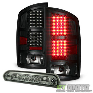 2002 2006 Dodge Ram 1500 Blk Led Tail Lights Smoke Led 3rd Brake Light Stop Lamp
